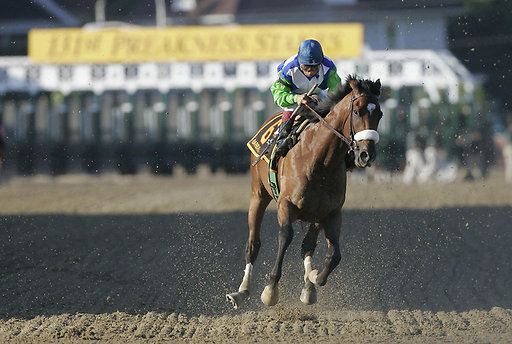 Jockey Edgar Prado struggles to stop Barbaro after his off hind leg has shattered.