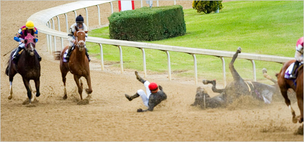 Pine Island goes down with a broken leg in the Breeders' Cup 2006.